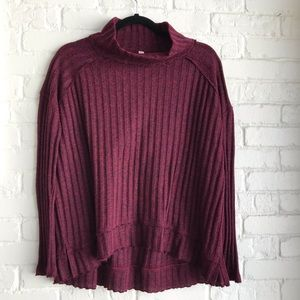 Free people maroon turtleneck sweater long Small